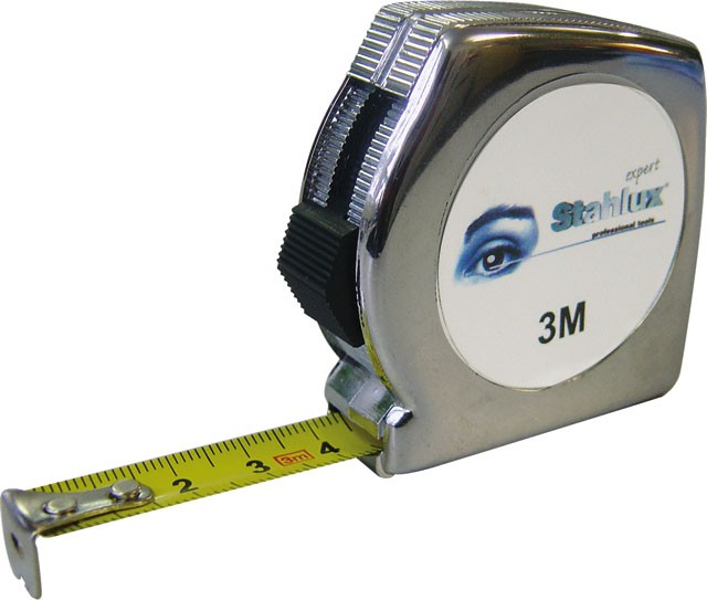 Rollmeter Stahlux verchromt