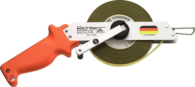 Stahl-Bandmass aus Leichtmetall, Stahlband gelb