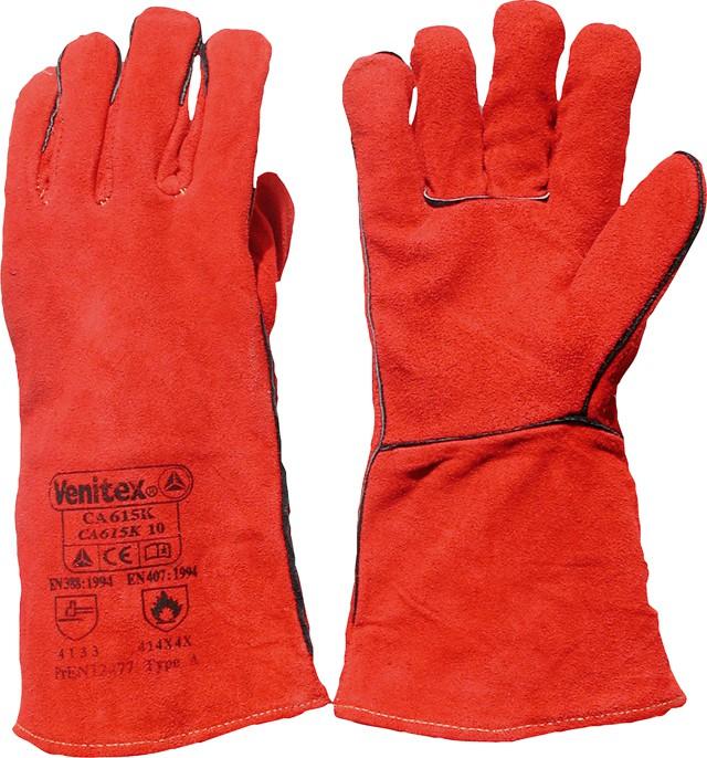Handschuh Schweisser Rindspaltleder rot